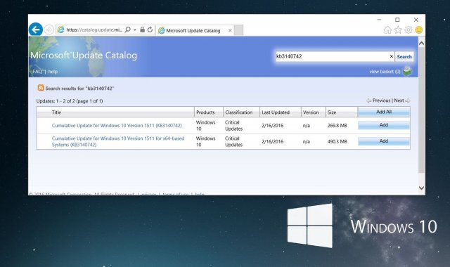 Microsoft выпустила патч для Windows 10 Build 10586 (1511)