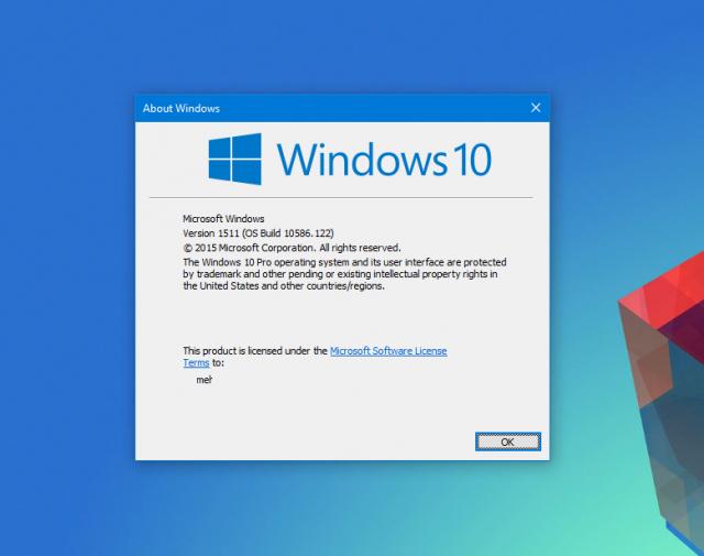 Вышло обновление Windows 10 Build 10586.122 для простых пользователей