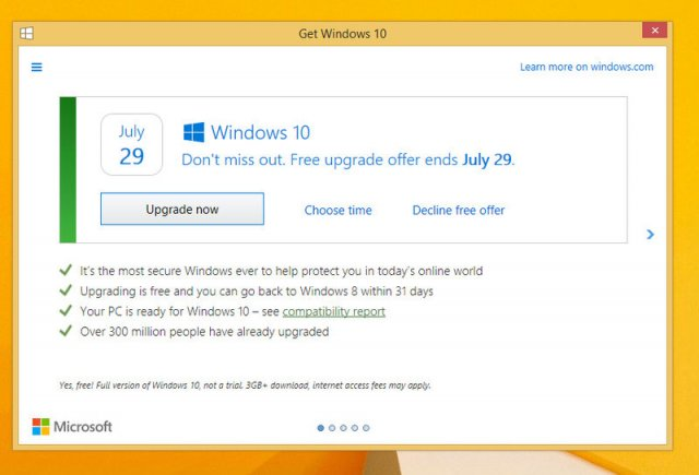 Microsoft поменяла окно обновления до Windows 10