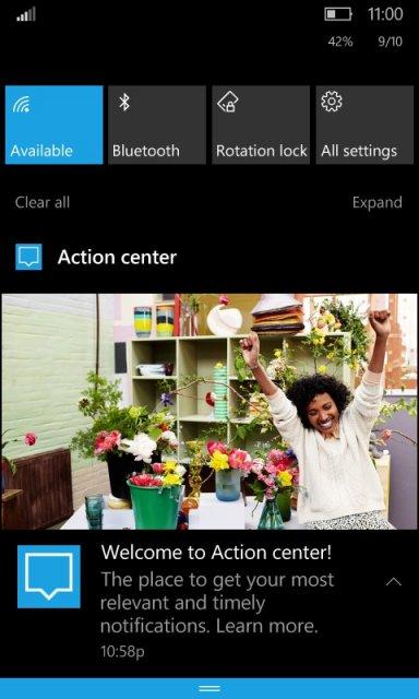 Новый Центр уведомлений для Windows 10 Mobile засветился в Redstone 2