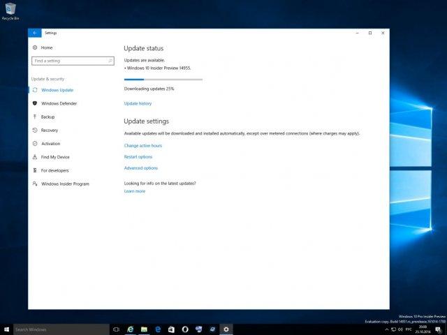 Доступна для загрузки Windows 10 Build 14955
