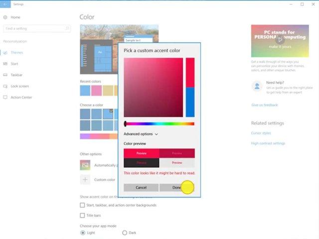 Windows 10 Creators Update принесёт кастомный выбор цветов