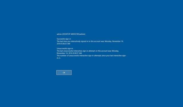 Как отображать информацию о последнем входе в систему на экране входа Windows 10