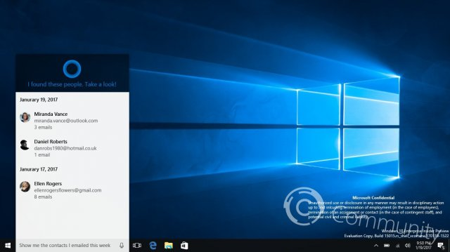 Скриншот Windows 10 Build 15015
