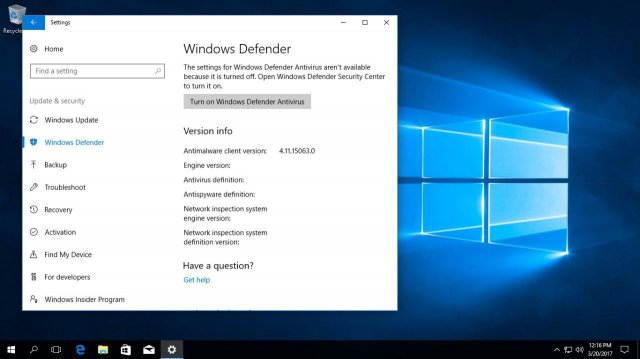 Скриншот Windows 10 Insider Preview Build 15063