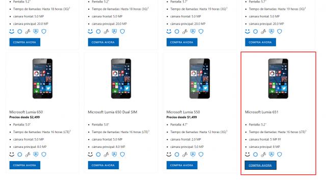 Lumia 651 замечена на мексиканском сайте Microsoft
