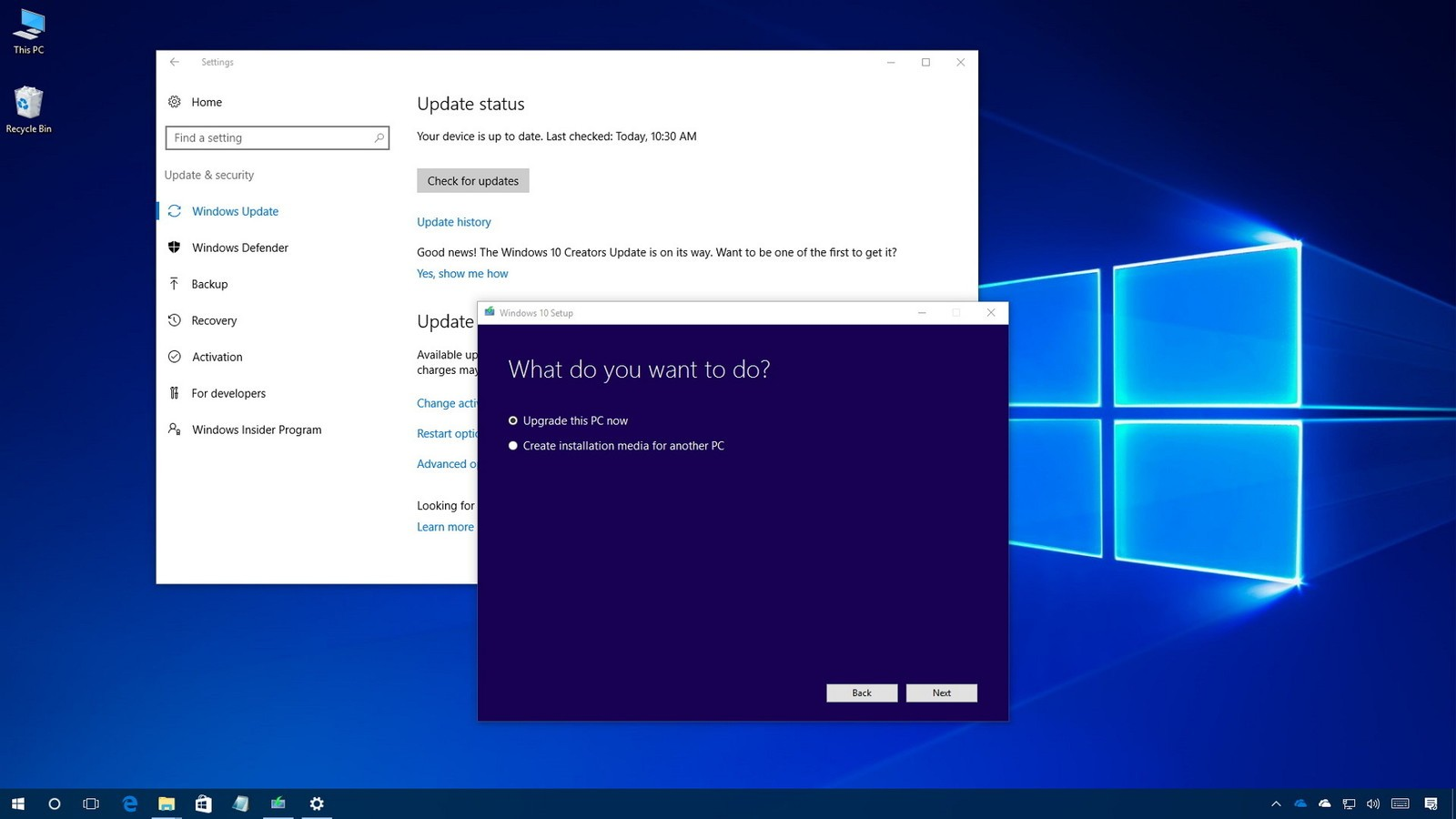 Windows 10 for Windows 10 update