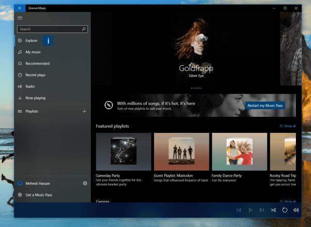 Первые проблески проекта Windows 10 NEON появились в Groove Music