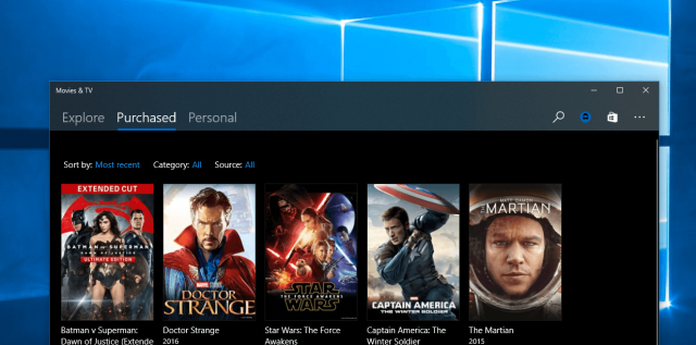 Дизайн NEON добрался до приложения Кино и ТВ в Windows 10