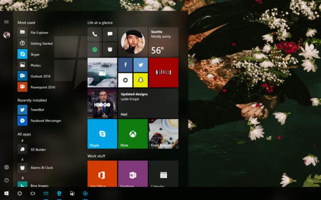 Плитки станут прозрачными в меню «Пуск» в обновлении Windows 10 Redstone 3