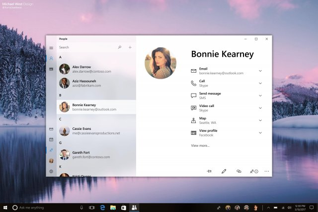 Концепты Neon Skype в Windows 10