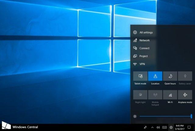 Microsoft показала новый Центр управления Windows 10