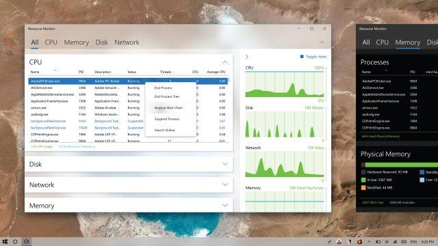 Концепт показывает Монитор ресурсов Windows 10 с элементами Fluent Design
