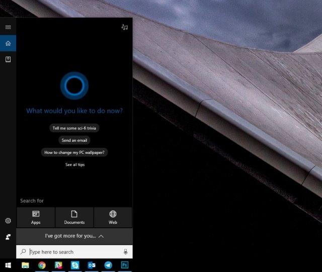Microsoft тестирует новый интерфейс Cortana в Windows 10