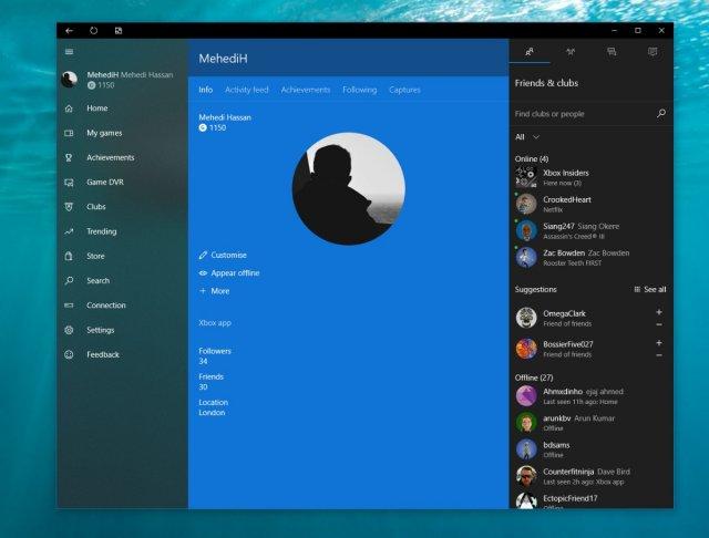 Приложение Xbox на Windows 10 в бета-версии получило Fluent Design