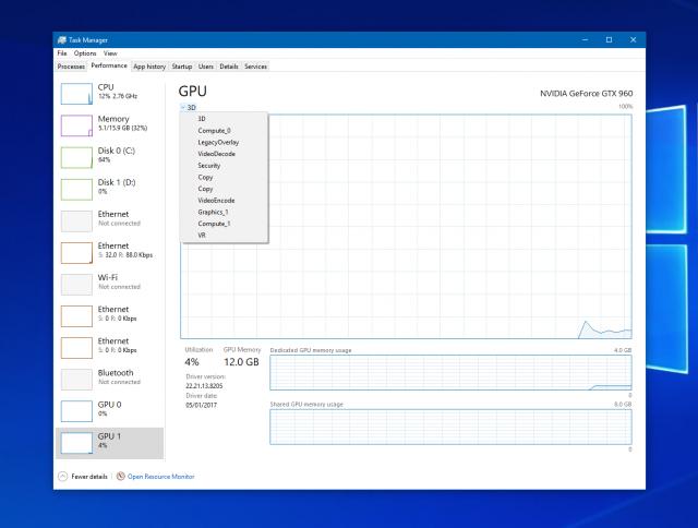 В Диспетчере задач Windows теперь можно отслеживать производительность видеокарт