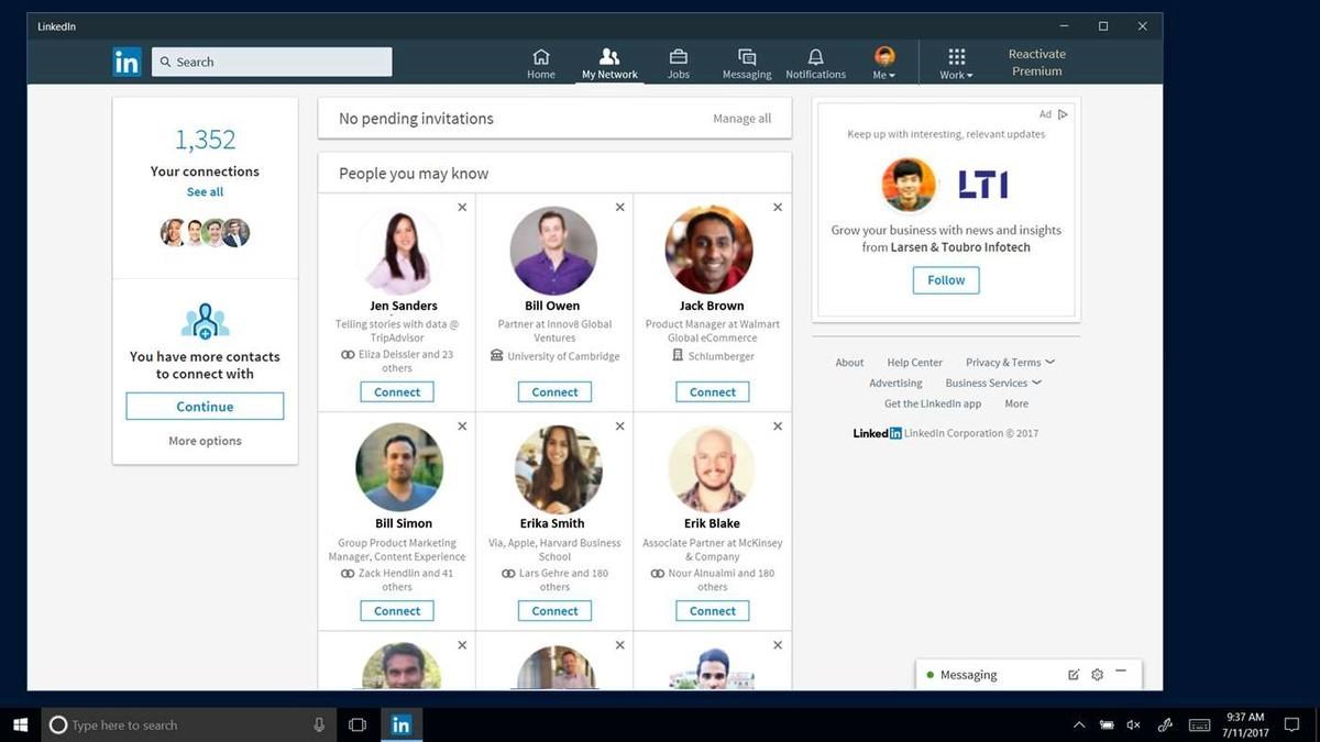 Приложение LinkedIn для Windows 10 доступно некоторым пользователям