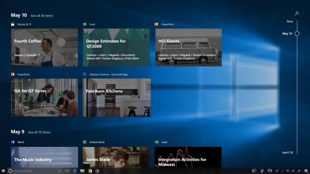 Microsoft убрала функцию Timeline из Windows 10 Fall Сreators Update