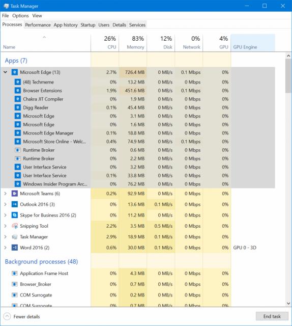 Windows 10 Build 16241 – Fluent Design, Экран блокировки, Диспетчер задач