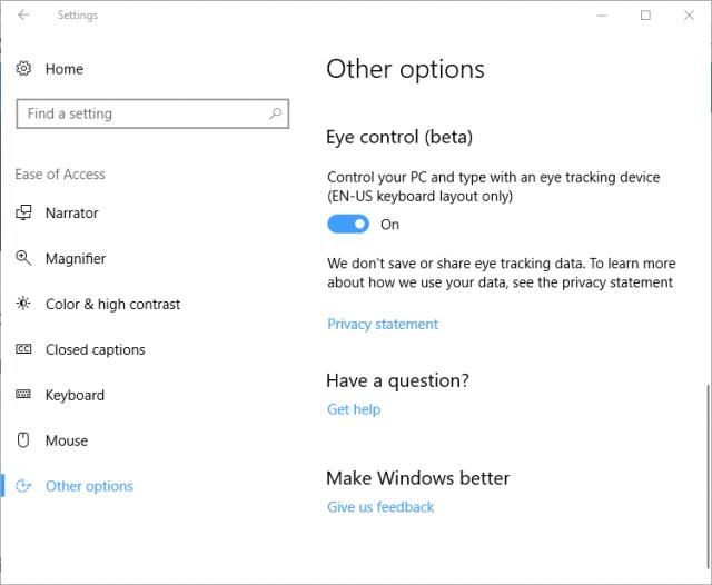 Технология отслеживания глаз доступна в предварительной версии Windows 10