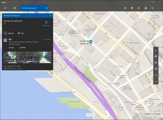 Карты в предварительной версии Windows обновлены и показывают остановки транспорта