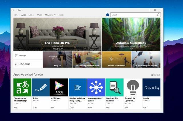 Изменённый интерфейс магазина Windows Store появится на всех устройствах на Windows 10