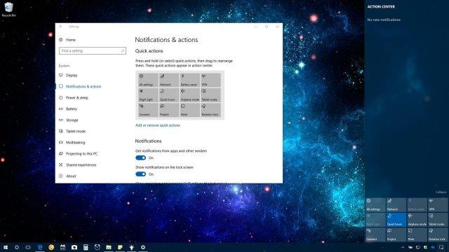 Как организовать панель быстрых действий в центре уведомлений Windows 10