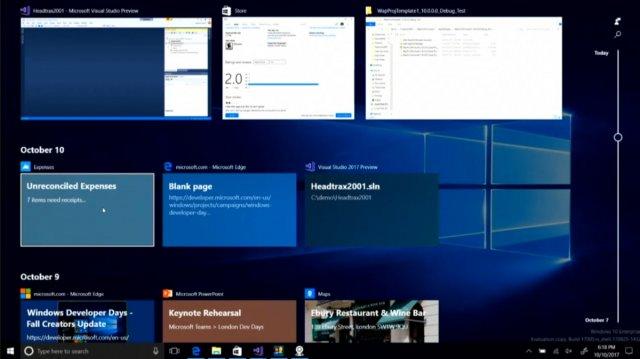 Функция Timeline скоро появится в предварительных сборках Windows 10